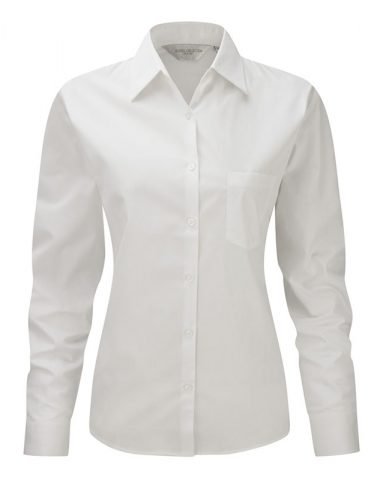 Ladies' Long Sleeve Pure Cotton Easy Care Poplin Shirt